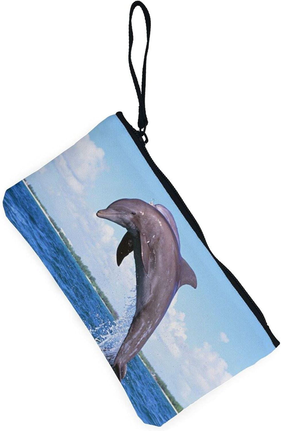 AORRUAM Cute Dolphin Canvas Coin Purse,Canvas Zipper Pencil Cases,Canvas Change Purse Pouch Mini Wallet Coin Bag