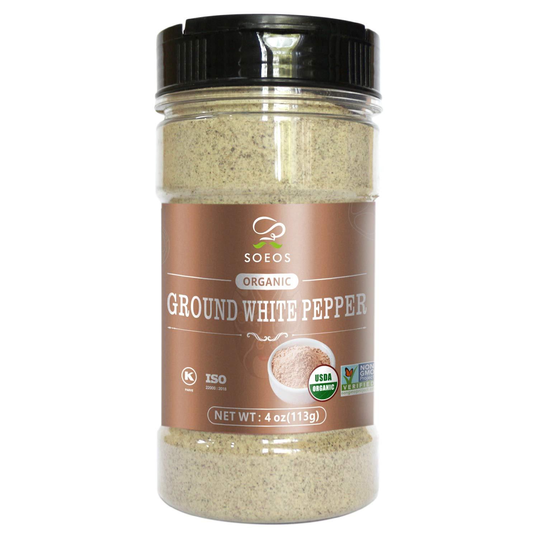 Soeos Organic Ground White Pepper OR Verified 4oz Columbus Sales results No. 1 Mall USDA Non-gmo