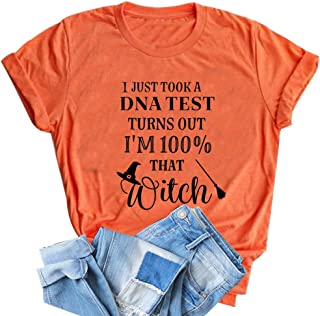 HRIUYI I Just Took a DNA Test Turns Out I'm 100% That Witch T Shirt Womens Funny Halloween Hocus Pocus Graphic Tees