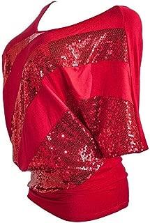 Ladies Sequin Causel T-Shirt Top Cold Shoulder Blouses for Women Plus Size