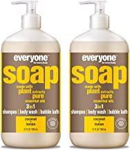 Everyone 3-in-1 Soap - Body Wash, Shampoo, and Bubble Bath - Coconut + Lemon, 32 Ounces, 2 Count