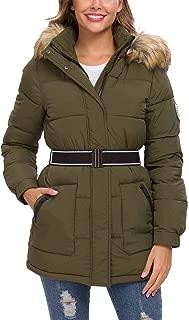 Women's Winter Coat Puffer Jackets, Parka Thicken Padded Wadded Outwear with Detachable Fur Hood Belt
