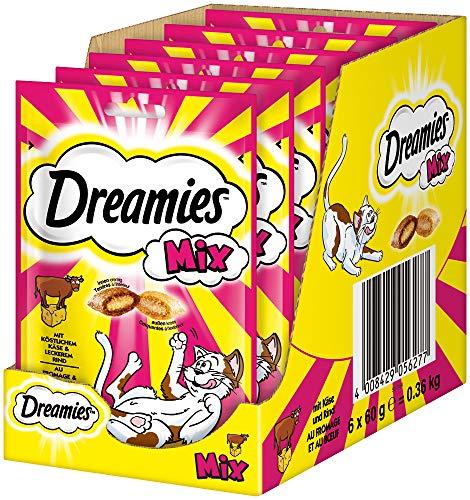 Dreamies Mix Katzensnacks mit Rind & Käse – Außen knusprig & innen cremig – 6 x 60g