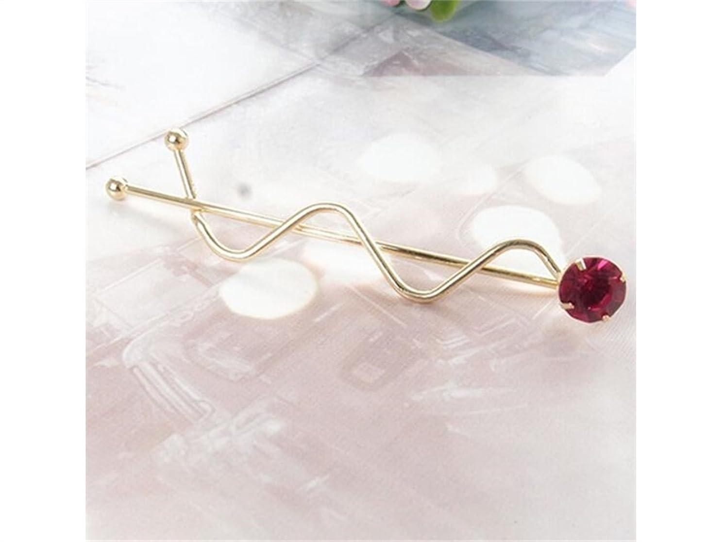 ウミウシウェイターカイウスOsize 美しいスタイル カラフルなラインストーンウェーブツイストクリップバース女性の女性のためのヘアクリップ(ゴールドレッド)