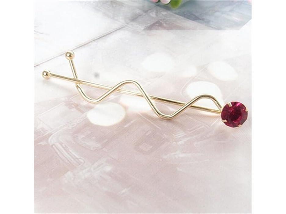 ミント求人歌Osize 美しいスタイル カラフルなラインストーンウェーブツイストクリップバース女性の女性のためのヘアクリップ(ゴールドレッド)