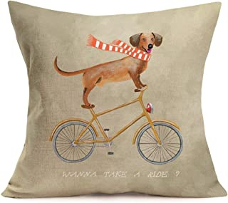 Aremazing Animal Dog Throw Pillow Covers Cotton Linen Dachshund Riding a Yellow Bicycle with Funny Letters Cushion Cover Pillow Case Home Sofa Pillowslip 18''x18'' (Dachshund Riding a Bicycle)