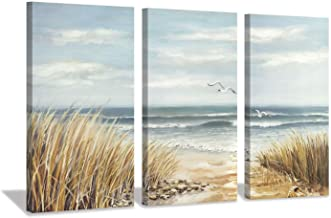 Hardy Gallery Seascape Abstract Artwork Shore Picture: Coastal Beach Gold Foil Art Print on Canvas for Wall