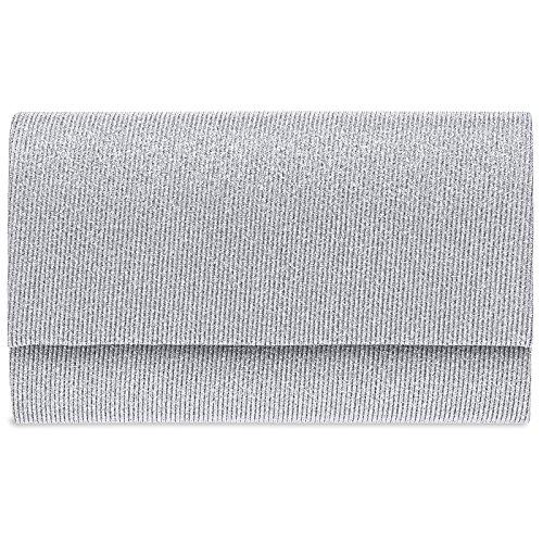 CASPAR TA400 Damen elegante Glitzer Stoff Envelope Clutch Tasche/Abendtasche mit langer Kette,...