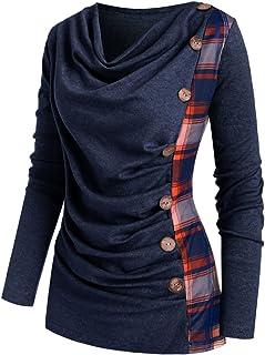 Briskorry Dames geruite tuniek tops plaid lange mouwen shirts knoopsluiting casual pullover blouse hemd effen bovendeel el...