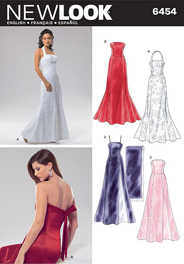 New Look Sewing Pattern 6454 Misses Special Occasion Dresses, Size A (8-10-12-14-16-18)