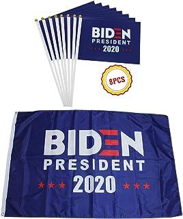 QSUM Anti Donald Trump President Support Joe Biden 2020 Flag Kit,3 X 5 FT Biden Flag Only or Matched with 8pcs Handheld Stick Flag Optional (3x5 ft Biden Flag and 8pcs Handhelf Flag)