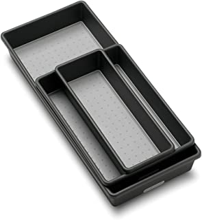madesmart Classic 3-Tray Bin Pack - Granite | CLASSIC COLLECTION | Multi-Purpose Storage | Soft-grip Lining and Non-slip Rubber Feet | Durable | BPA-Free