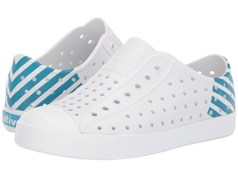 Native Kids Shoes Jefferson Block Print (Little Kid/Big Kid) (Shell White/Shell White/Ultra Blue Glow) Kid