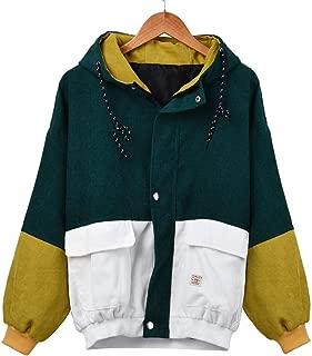 Women Fall Winter Short Jacket Hooded Corduroy Color Block Windbreaker Coat Outdoor Jacket Oversize