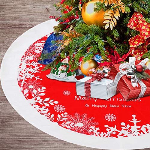 Weihnachtsbaumdecken 48 Zoll, Rot Weihnachtsbaum Rock Weihnachtsbaum Plüsch Schürze Runde Dekoration Christbaumständer Schneeflocke für Weihnachtsbaum Verzierung Bodendekoration Neujahr Zuhause