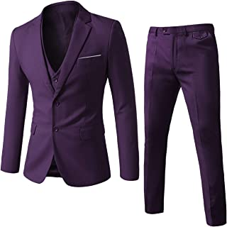 Mens Suits 2 Button Slim Fit 3 Pieces Suit