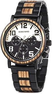 BOBO BIRD Men Wooden Stainless Steel Watch Mens Luxury Timepieces Chronograph Quartz Watches