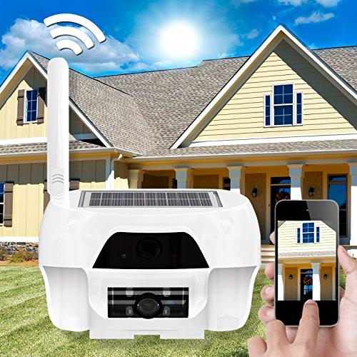 HaWoTEC Solar WiFi WLAN HD Kamera Überwachungskamera Innen und Aussen wasserdicht mit Solarzelle Akku Solarpanel mit Aufnahmefunktion 1 Megapixel 16 GB PIR Bewegungssensor PC Client und App