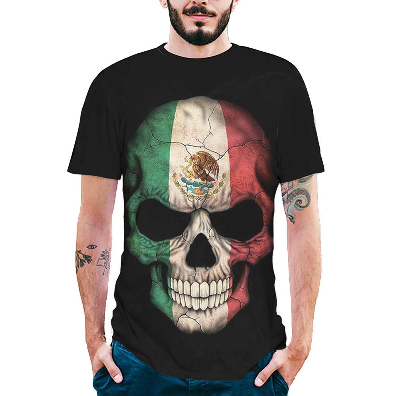 T-Shirts for Boys Large,Fashion Mens Splash-Ink 3D Printing Skull Shirt Short Sleeve T-Shirt Blouse Tops,Girls' Novelty Clothing,Black,XXL