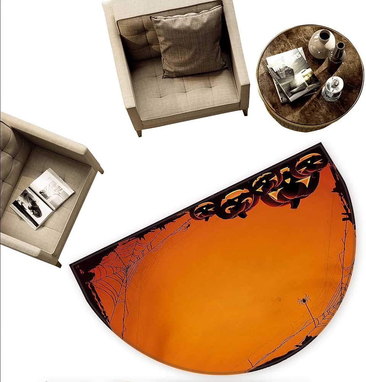 Halloween Semicircular Cushion Grunge Spider Web Jack o Lanterns Horror Time of Year Trick or Treat Print Entry Door Mat H 55.1  xD 82.6  orange Seal Brown