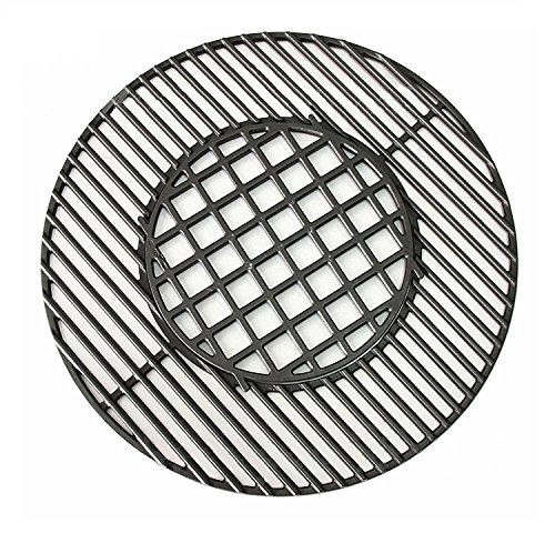Outspark Cast Iron Gourmet BBQ System Hinged Cooking Grate Replacement Fits Weber 22-1/2-inch Weber Charcoal Grills, Cast Iron Grill Grates for Weber 8835