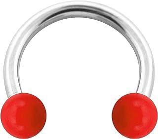 VOTREPIERCING Piercing Herradura Acrílico Rojo Opaco Bolas 1.2 x 10 x 3 mm