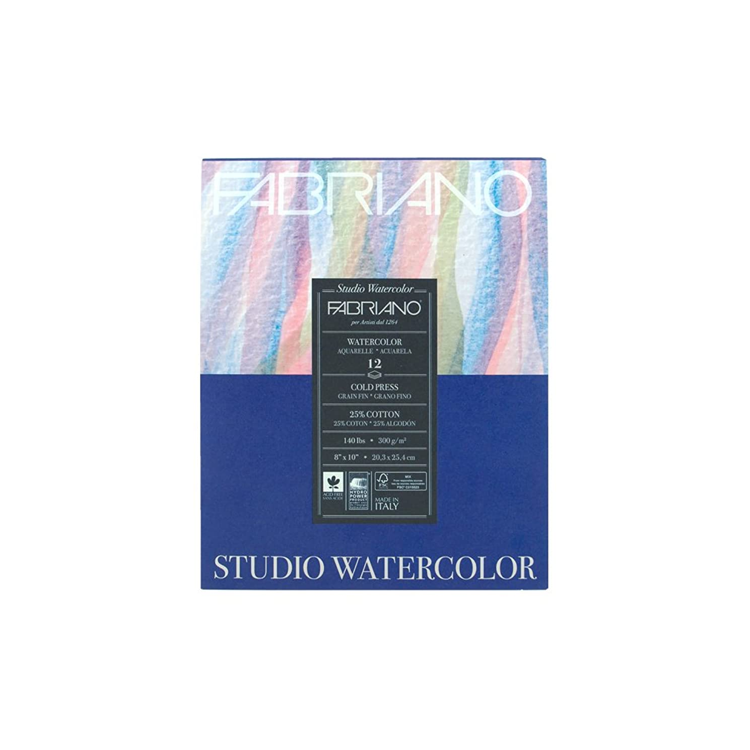 Fabriano Studio Watercolor Cold Press Pad, 8 x 10 Inches, 140 lb, 12 Sheets