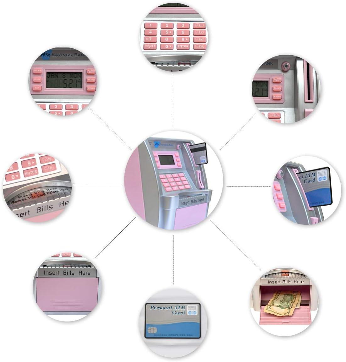 LB Children Kids Educational Toy ATM Savings Bank Electronic Mini ATM Piggy Bank Cash Coin Money Saving Machine for Boys Girls Birthday Gift