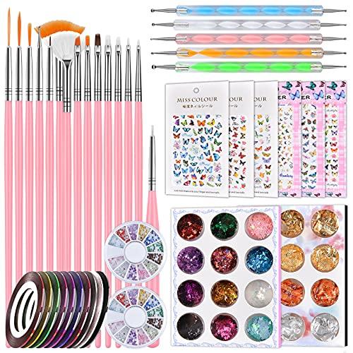 Nail Art Brush, Nail Dotting Tools, Nail Dust Brush, Nail Art Kit for beginners, 3D Butterfly Nail Art Stickers, Nail Art Rhinestones, Nail Art Foil, Nail Art Striping Tapes, Nail Design Kit-A