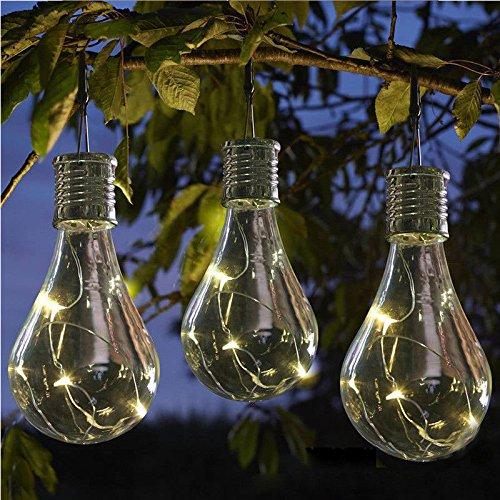 LEDMOMO Lampes solaires à suspendre - Étanches - LED - Pour extérieur, jardin, camping (coque transparente avec quatre couleurs de lumière)
