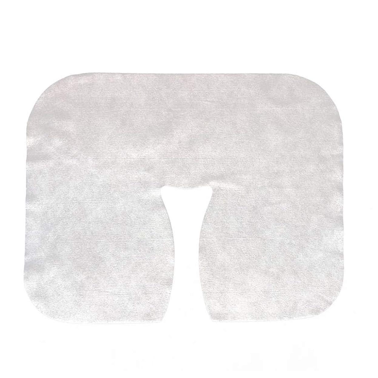 剣主権者逆Lurrose 200枚 使い捨て マッサージ フェイスクレードル カバー フェイスマッサージヘッドレストカバースパ美容サロンマッサージ用マット(ホワイト)