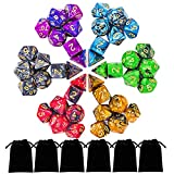 iFergoo 6 x 7 (42 Pieces) Polyhedral Dice, Double Colors Polyhhedral Game Dice