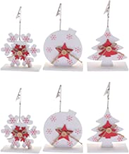 GARNECK 6pcs Christmas Place Card Holder Wood Tree Snowflake Photo Card Clip Memo Note Clamp Table Number Stand for Winter...