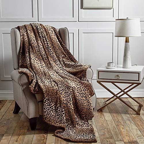 softan Flanelldecke, leicht, superweich, sehr luxuriös, Plüsch, Fleece, Leopardenmuster, 150 x 200 cm