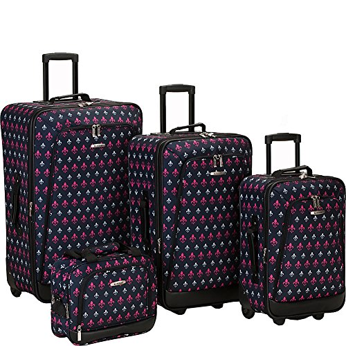 Rockland Reaction 4-Piece Softside Upright Luggage Set, Black Icon, (14/19/24/28)