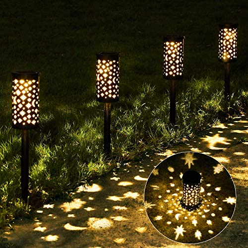 6 Pack Solar Pathway Lights Outdoor, OxyLED Hanging Solar Lanterns Waterproof, Outside Decorative Star Moon Garden Landscape Lights Solar Powered for Patio Lawn Yard Path Driveway Walkway Christmas
