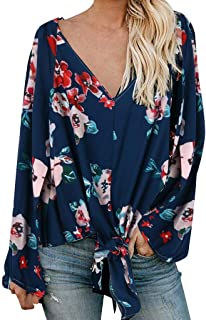 Holzkary Boho Floral Print Blouses for Women Lightweight Button/Knot Puff Sleeve V-Neck Shirts Sweatshirt Pullover Tops