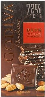 GODIVA歌帝梵72%可可扁桃仁味黑巧克力片100g(德国进口)