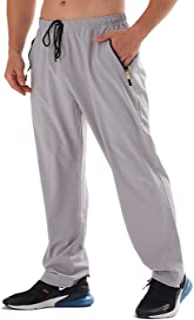 AIRIKE Men's Elastic Waist Hiking Pants Water Resistant Quick-Dry Lightweight Outdoor Sweatpants with Zipper Pockets