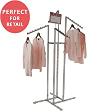 Clothing Rack – Heavy Duty Chrome 4 Way Rack, Adjustable Arms, Square Tubing, Perfect for Clothing Store Display With 4 Slanted Arms