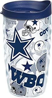 Tervis NFL Dallas Cowboys All Over Tumbler with Wrap and Navy Lid 10oz Wavy, Clear