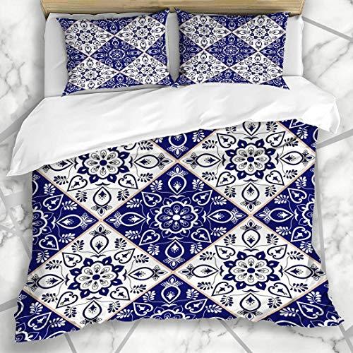 ZOANEN Bettwäsche - Bettwäscheset Portugiesisches italienisches Delfter Holländer-Muster-blaues Porzellan-Weinlese-Mosaik Portugal Sizilien Mexiko Mikrofaser weich dreiteilig160*220