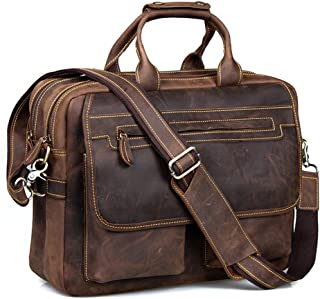 Kattee Crazy-Horse Leather Briefcase 16