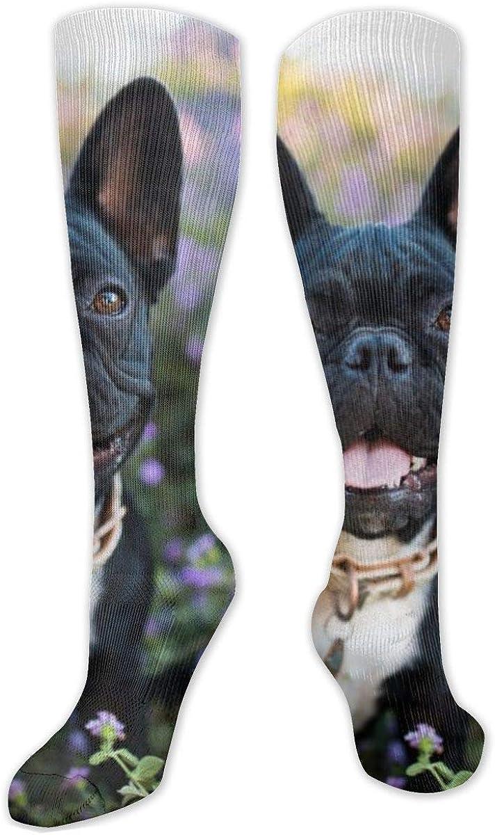 Happy French Bulldog On The Flower Knee High Socks Leg Warmer Dresses Long Boot Stockings For Womens Cosplay Daily Wear