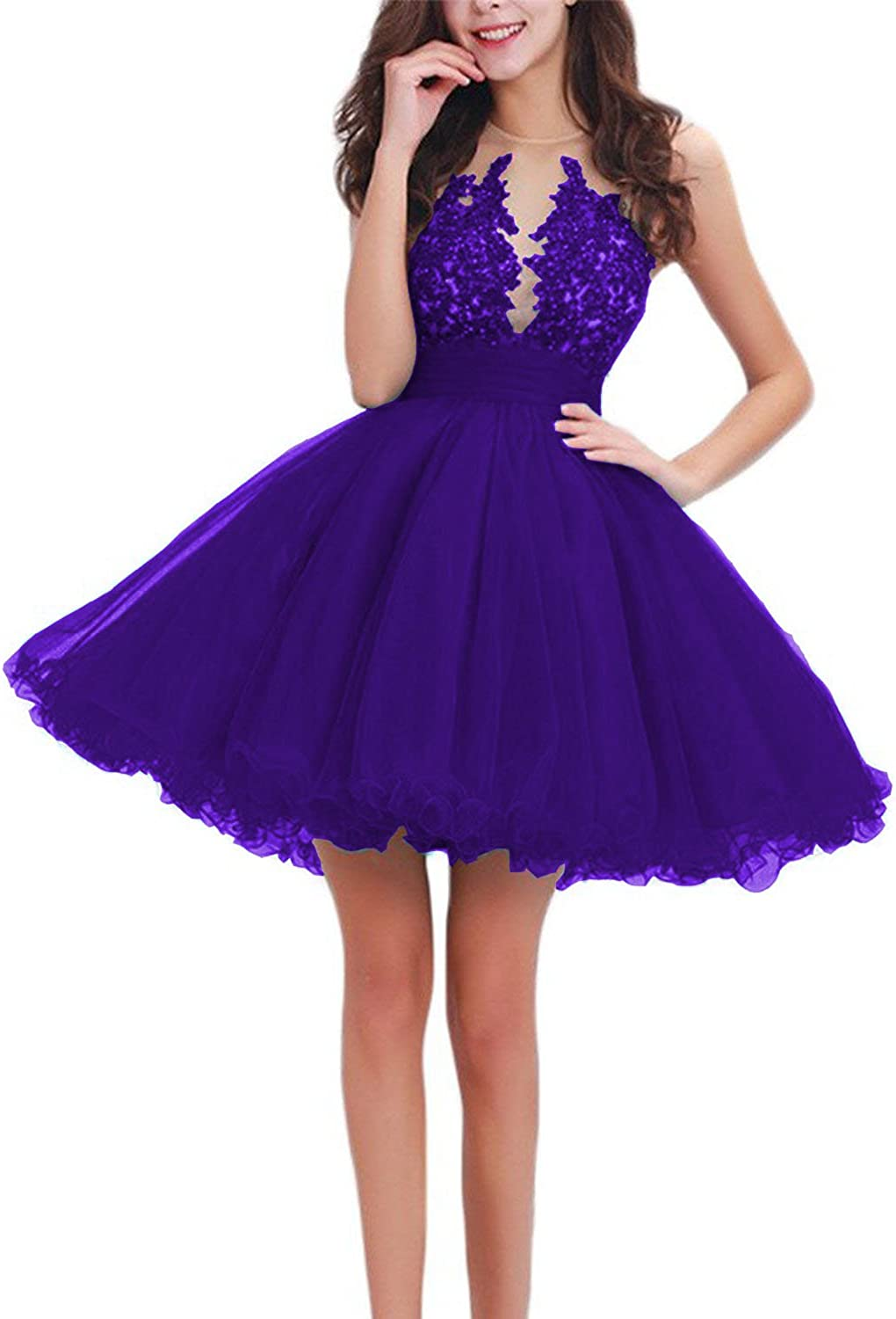 Scarisee Womens Ball Gown Beaded Appliqued Homecoming Prom Party Dress ShortSA27
