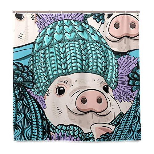 Blaue Viper Schweine mit Hüten Duschvorhang Anti-Schimmel Duschvorhang aus Polyester Wasserabweisend Anti-Bakteriell mit 12 Duschvorhang ringen Bad Vorhang für Badezimmer Badewanne Hauptdekoration