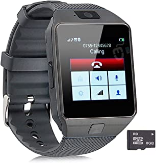Pandaoo Smart Watch Mobile Phone Unlocked Universal GSM Bluetooth 4.0 Music Player Camera Calendar Stopwatch Sync with Android Smartphones (Black+8GB TF Card)