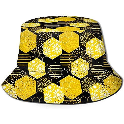 William Bacon Modernes abstraktes Honig-Design Unisex-Eimer-Hut Reversible Fischerhut-Pflanze Gedruckte einfarbige Outdoor-Sonnenhut Packable Black