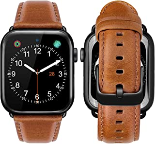 iBazal Compatible with Apple Watch Band 42mm 44mm,Genuine Leather Bands Replacement Strap for iWatch Series 5 Series 4 44mm Series 3 Series 2 Series 1 42mm Sports & Edition Men Women -42/44mm Brown