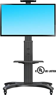 NB North Bayou Mobile TV Cart TV Stand with Wheels Mount for 32-65 Inch LCD LED OLED Plasma Flat Panel Screens Aluminum (Black)